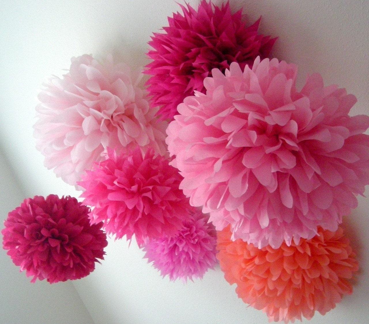 Pink, Indubitably ...10 tissue paper poms // diy kit // wedding // birthday // party decorations // pinkalicious // princess