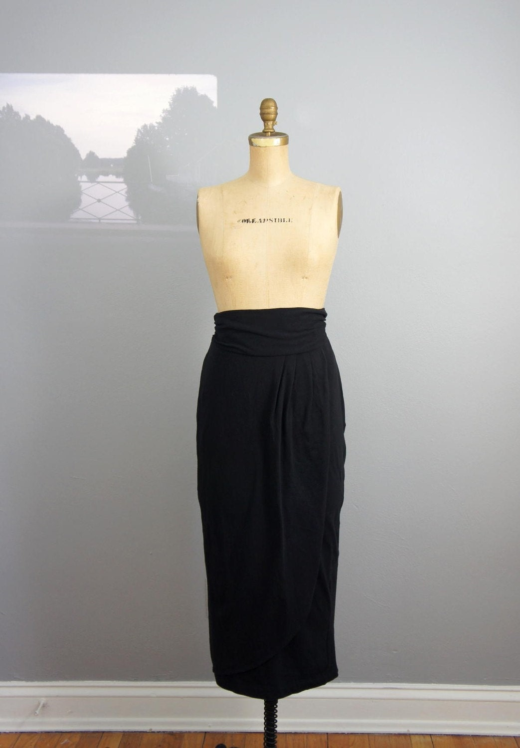 vintage 1980s Cummerbund midi pencil skirt