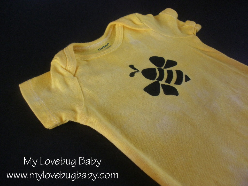 Bumble Bee Onesie - Hand Dyed & Painted - MyLovebugBaby