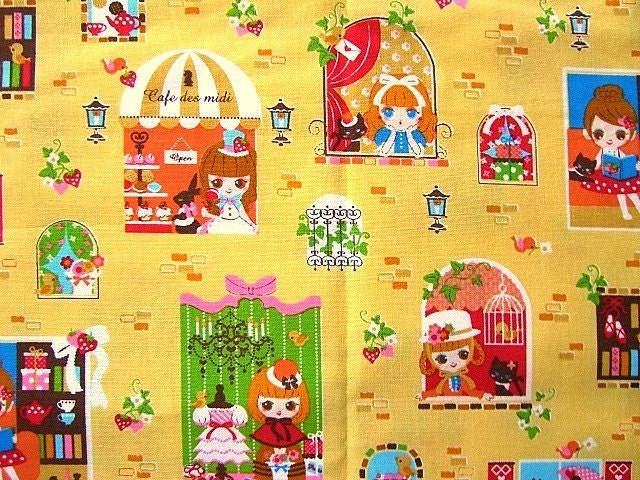 Kawaii Cute Japanese Fabric - Cafe Des Midi - Cute Girls And Cats in Sweets Town HALF YARD (F455)