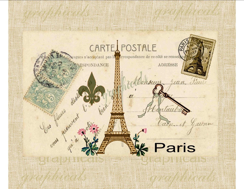 paris digital download image carte postale eiffel by graphicals. Black Bedroom Furniture Sets. Home Design Ideas