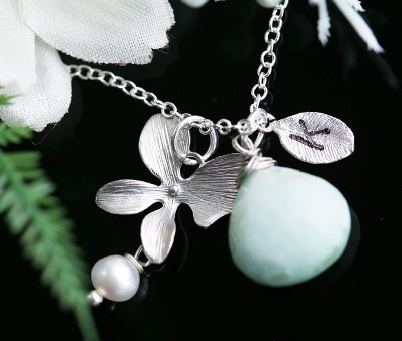 Original Design,1 leaf initials and 1 birthstone,silver orchid necklace,great bridesmaid gift or birthday gift