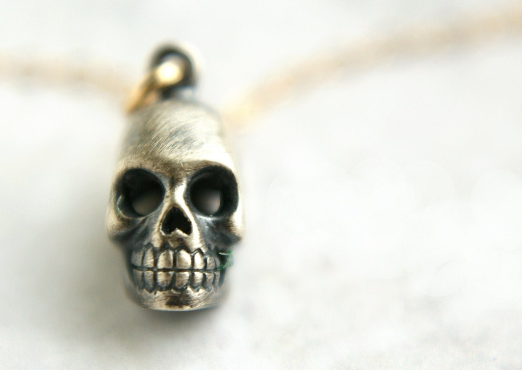 silver skull necklace spirited skull oxidized sterling silver 14kt gold filled chain skull necklace
