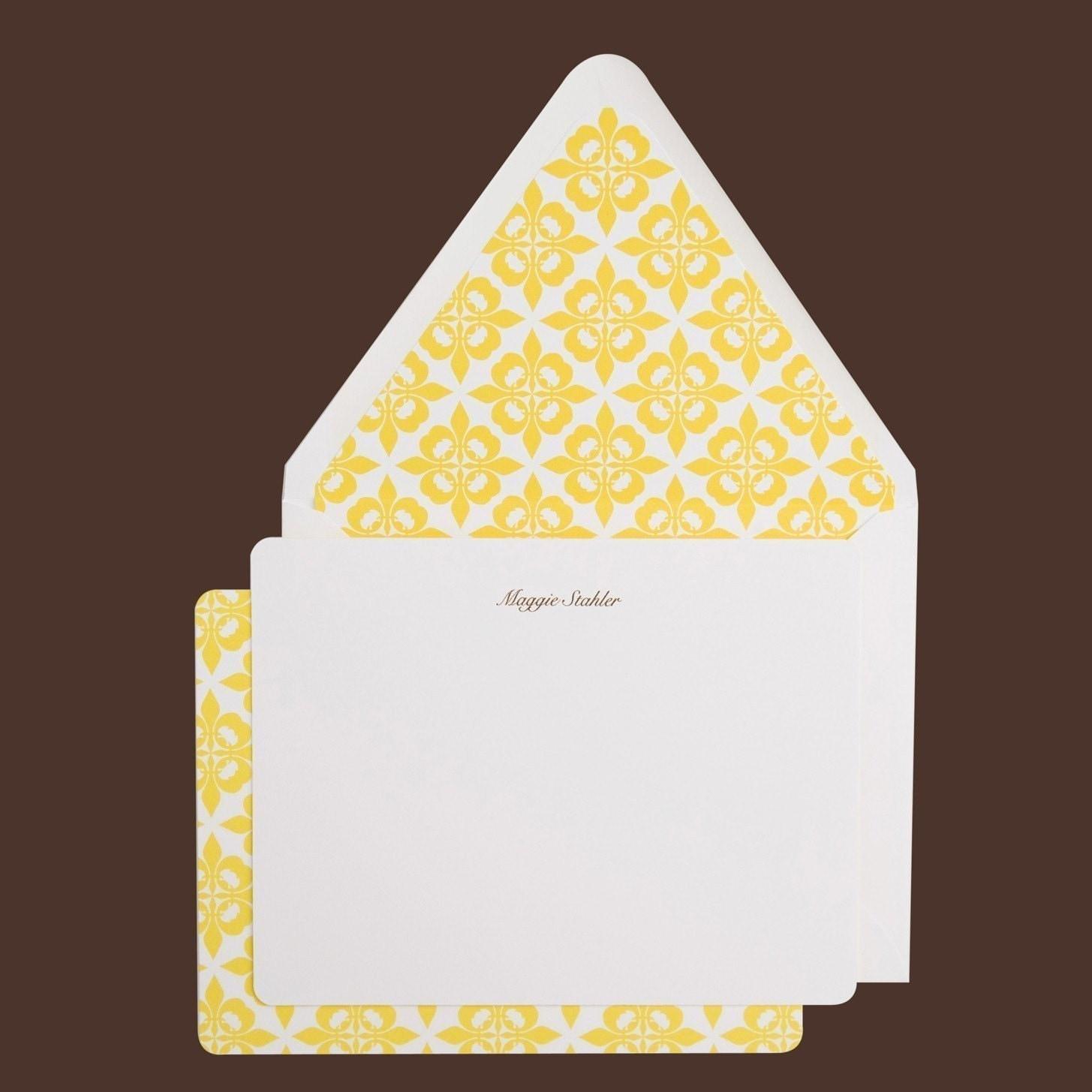 Set of Ten Personalized MStudio Yellow Diamond notecards