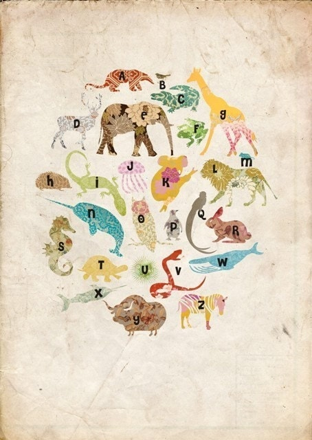 SALE - Animals Alphabet Poster in vintage style by MarlaSea on Etsy