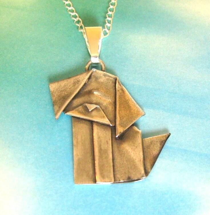Silver Origami Dog Pendant