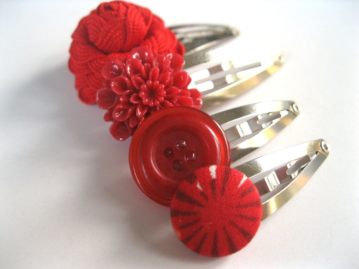 Funky Hair Clips Set of Four - Red Mix of Snap Clips - Flowers and Buttons - Rotifera