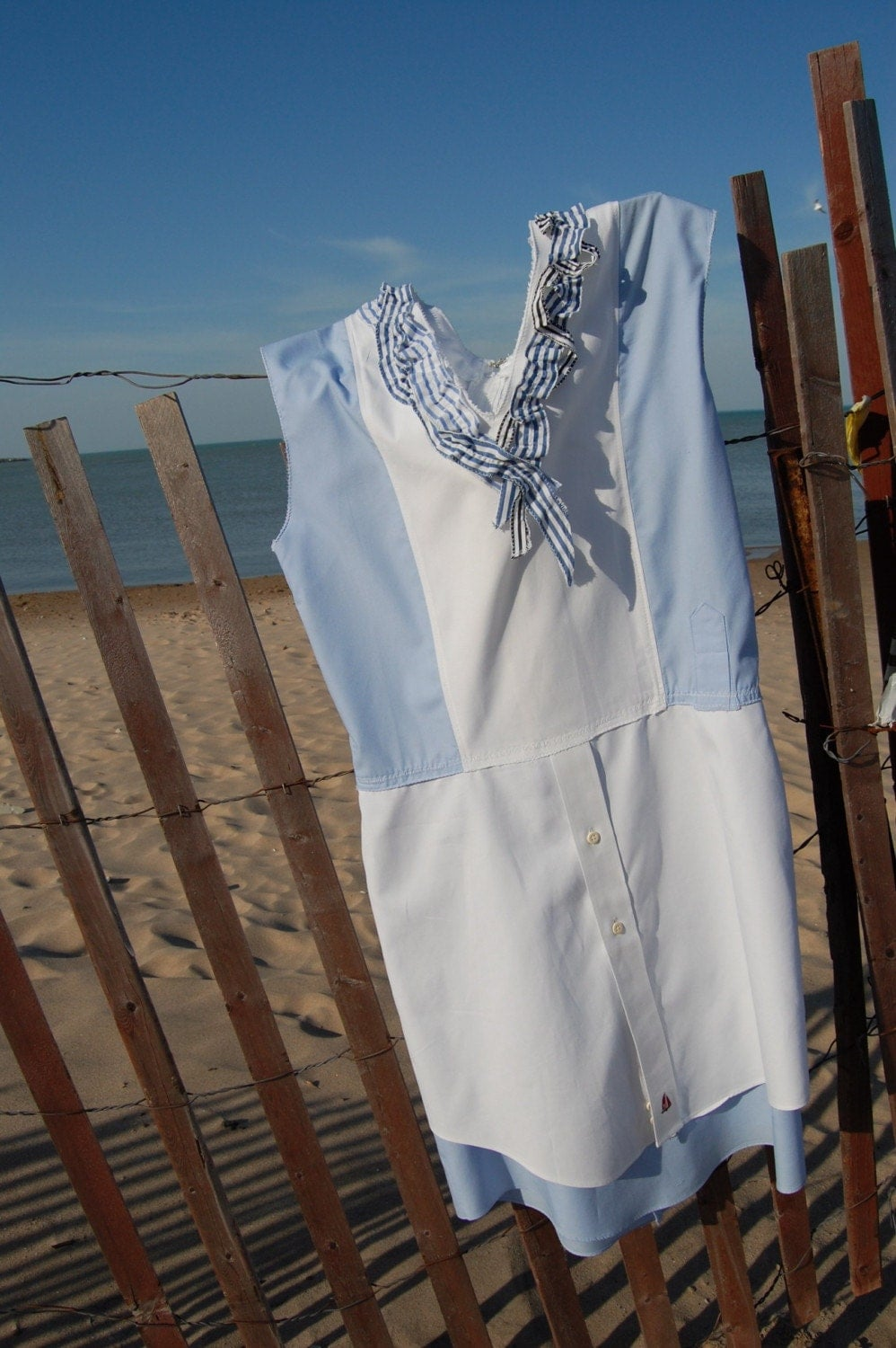 Summer Dress made from recycled men's dress shirts - Shirtback Dress I