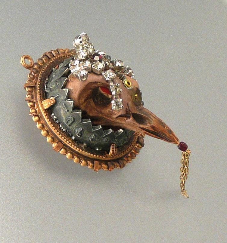 Bird Skull Pendant -- Metal, Polymer