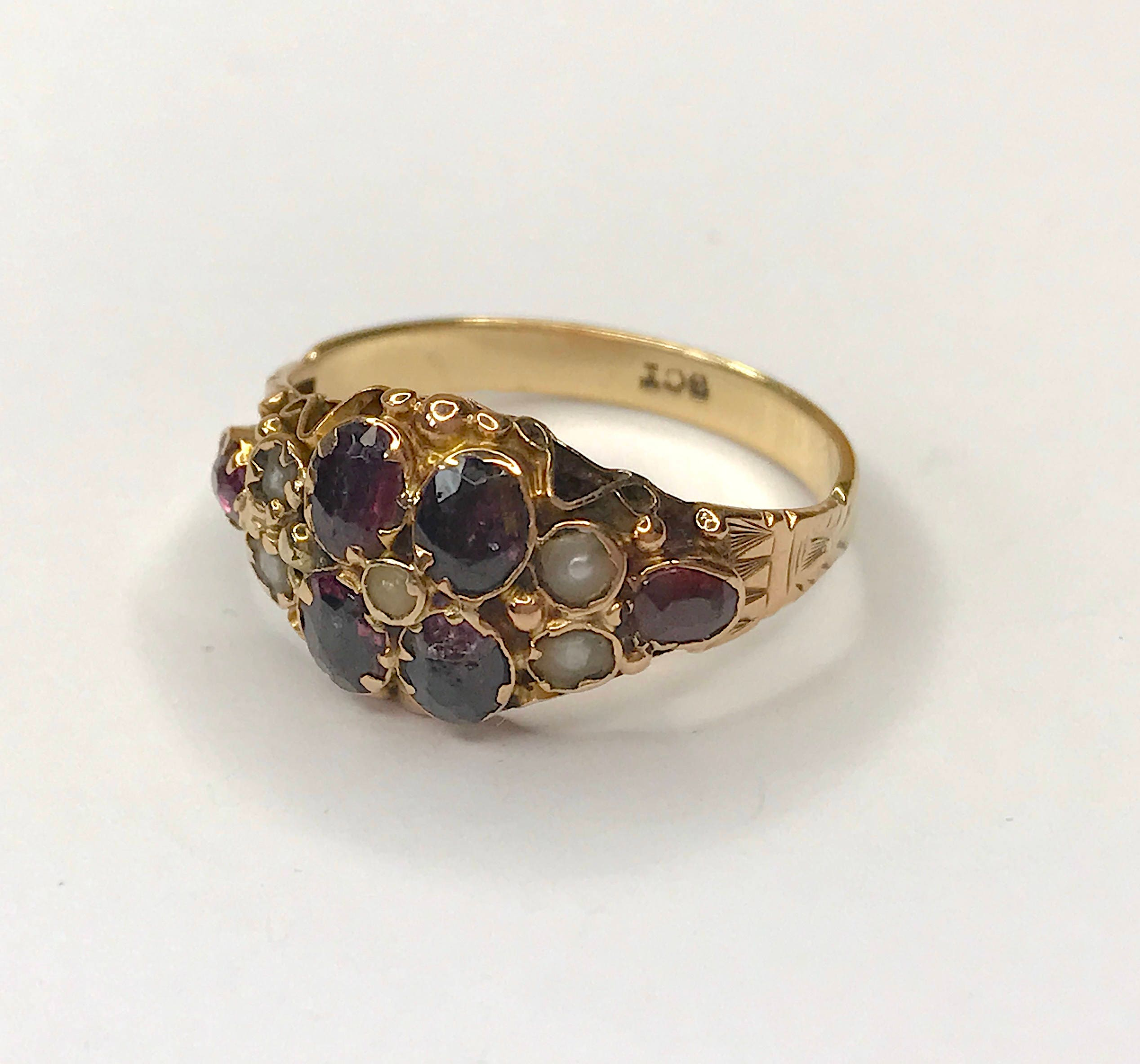Antique MidVictorian Garnet and Seed Pearl Ring in 9ct Gold