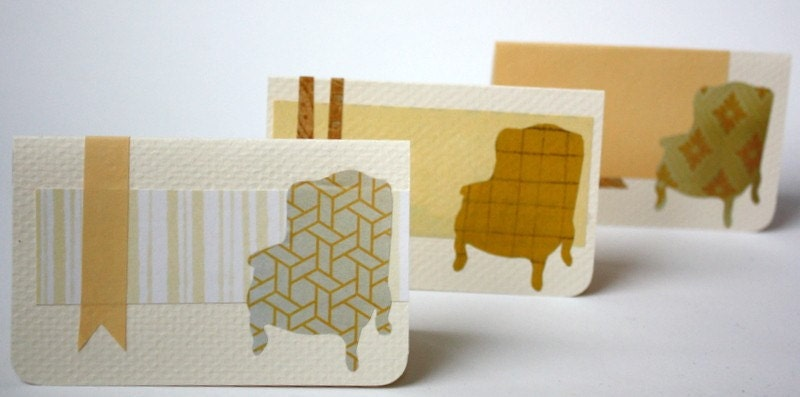 Designer chair notecards - set of 6 cards with envelopes