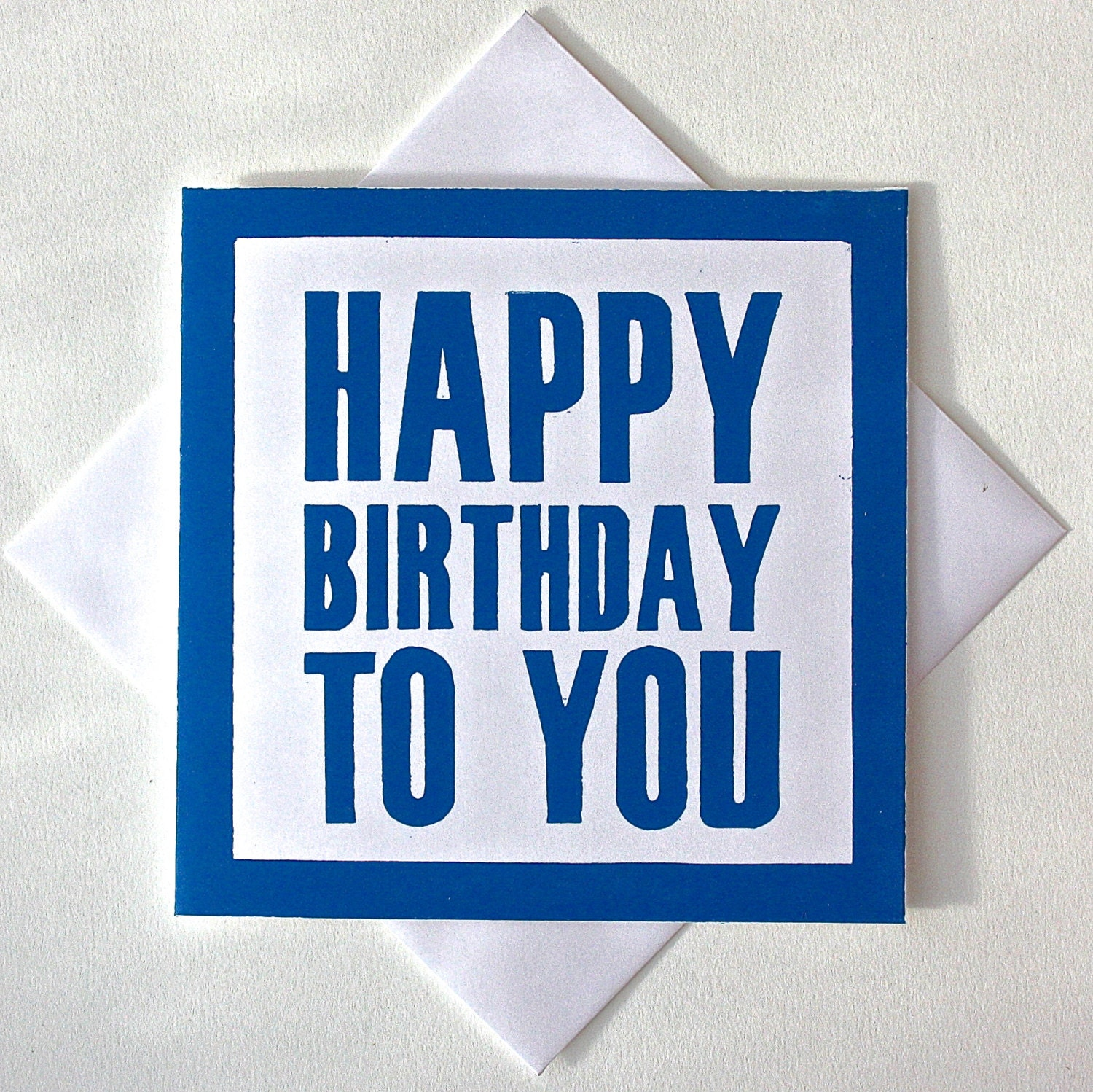 Happy Birthday Card For Him. Lino Print Greetings Card. Blue Card For ...