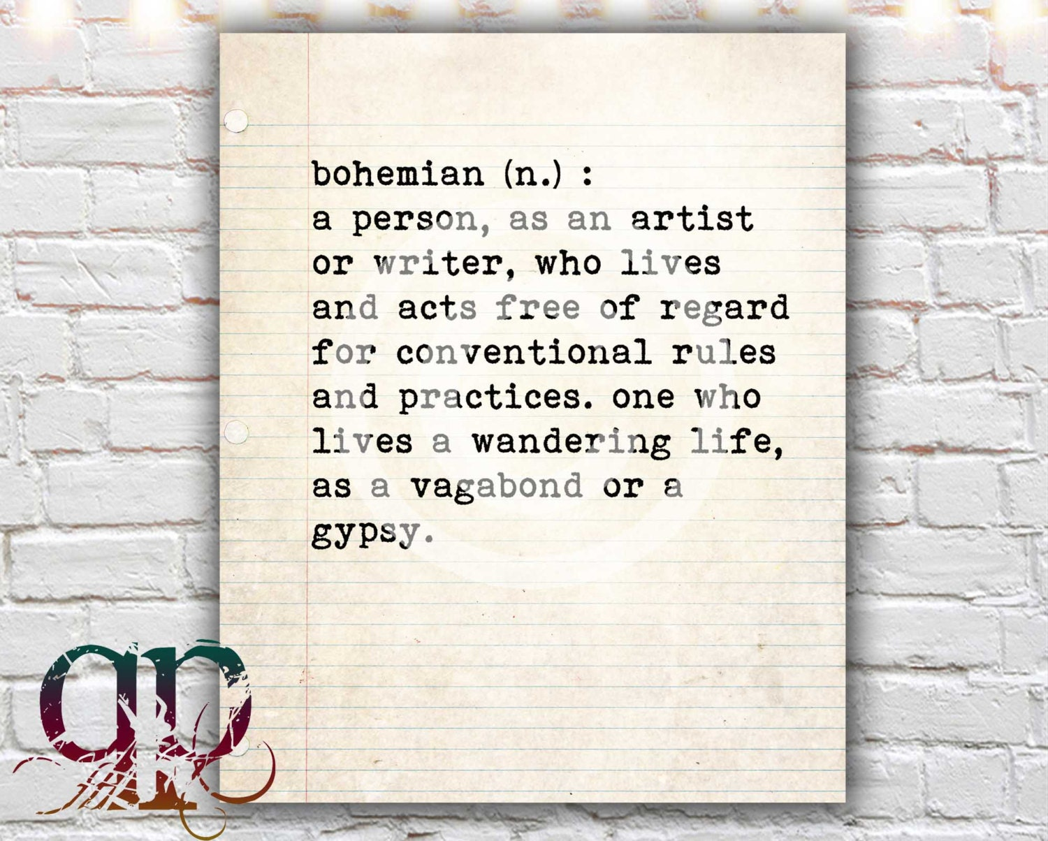 Bohemian Definition Printable Art Dictionary Quotableprintables
