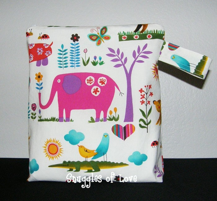 Custom Made Wet Bag in Juicy Jungle, lined with ProCare Waterproof Fabric, Size Regular