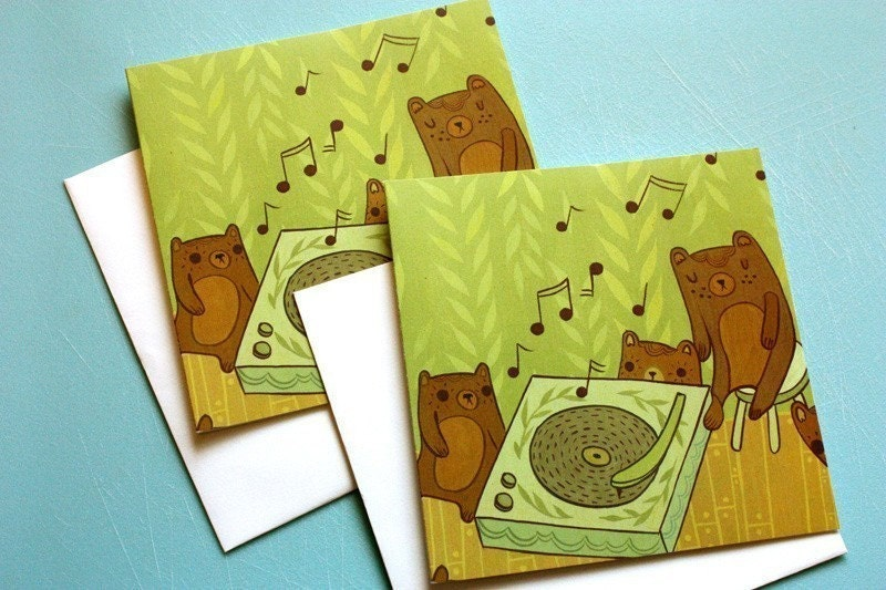 BEAR NOTE CARDS set of 2, square format, eco-friendly, music record player, recycled