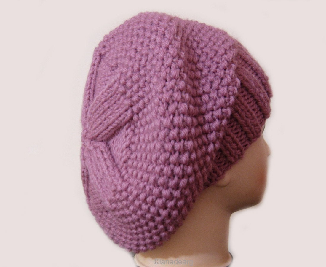 Knit Slouchy Beret Pattern : Knitting pattern hat slouchy beret for women in PDF by lanadearg