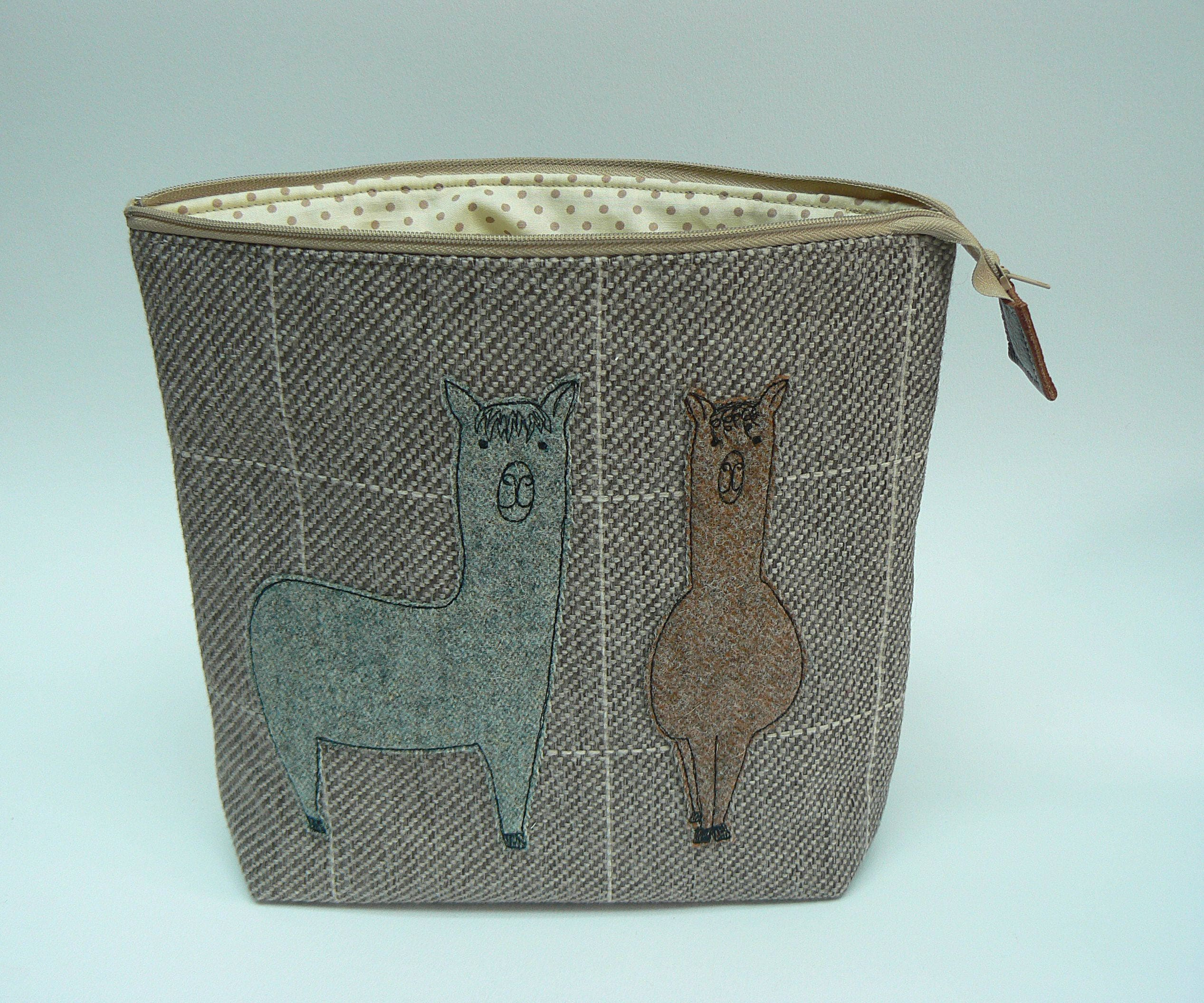 Tweedy alpacas applique zipped knitting project bag craft project bag