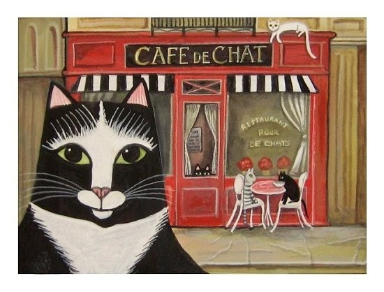 CATS CAFE Cafe de Chats SIGNED FOLK ART PRINT Paris Chic FRENCH KITTY Wendy Presseisen