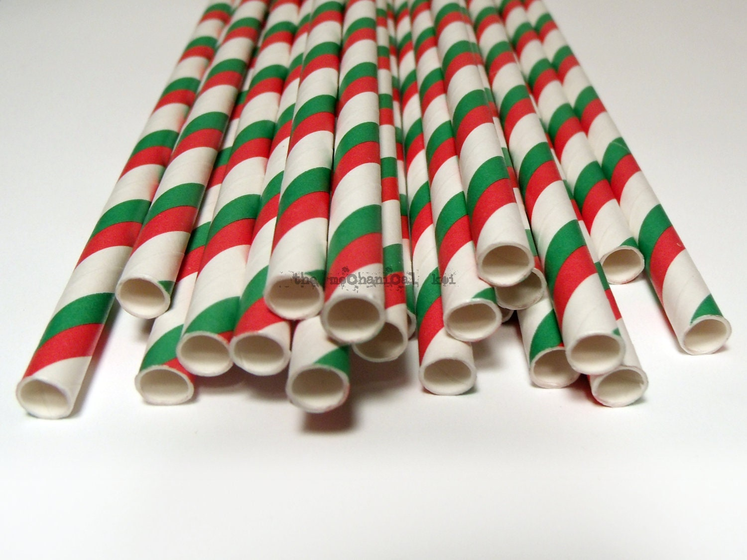 25 Christmas Striped Straws Drink Flags Party Favor Decoration Retro Soda Holiday