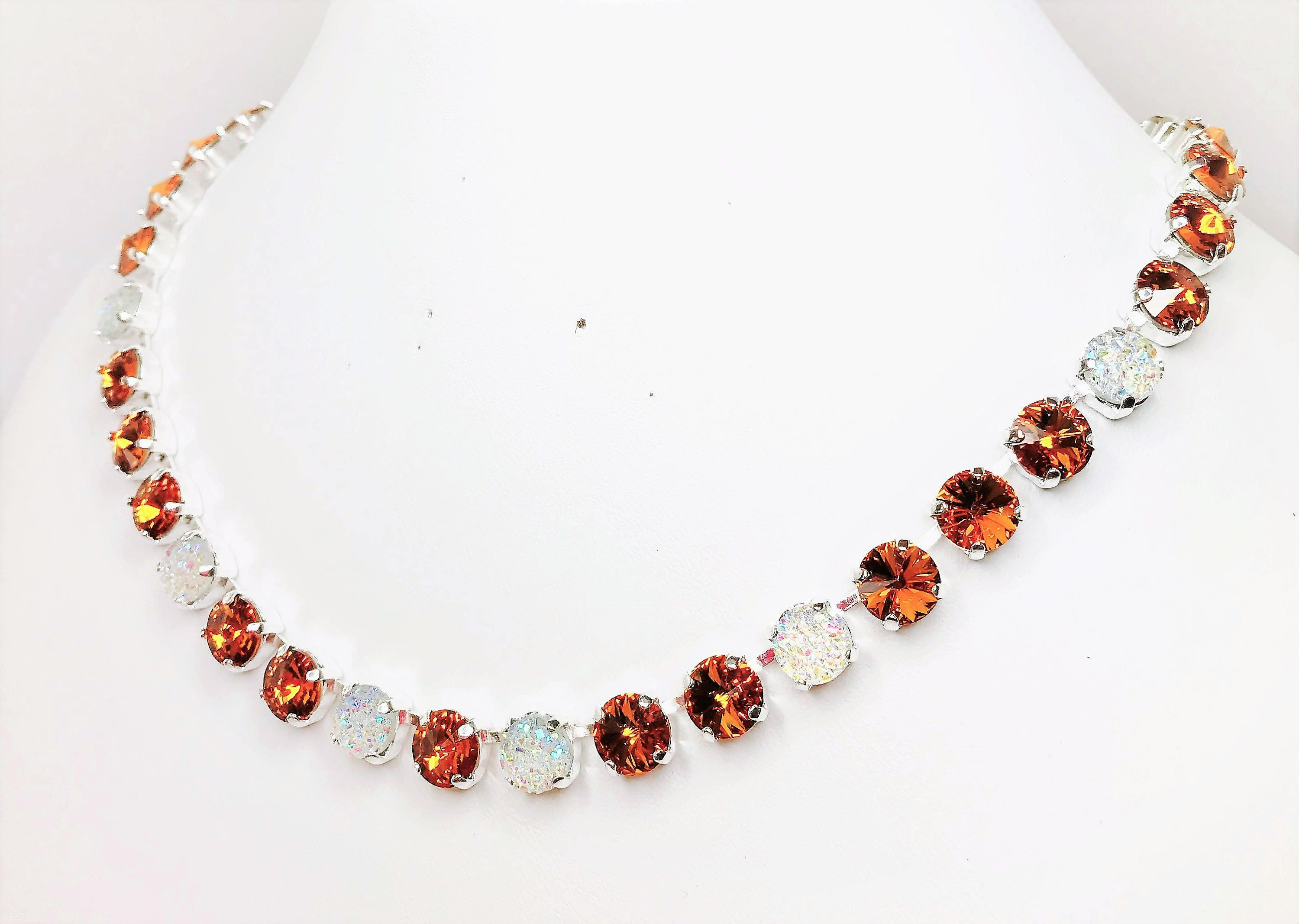 Topaz Crystal Statement Necklace 8mm Swarovski Chatons Topaz Jewellery Unique Necklace for Her Designer Jewelry Lynns Gem Creations