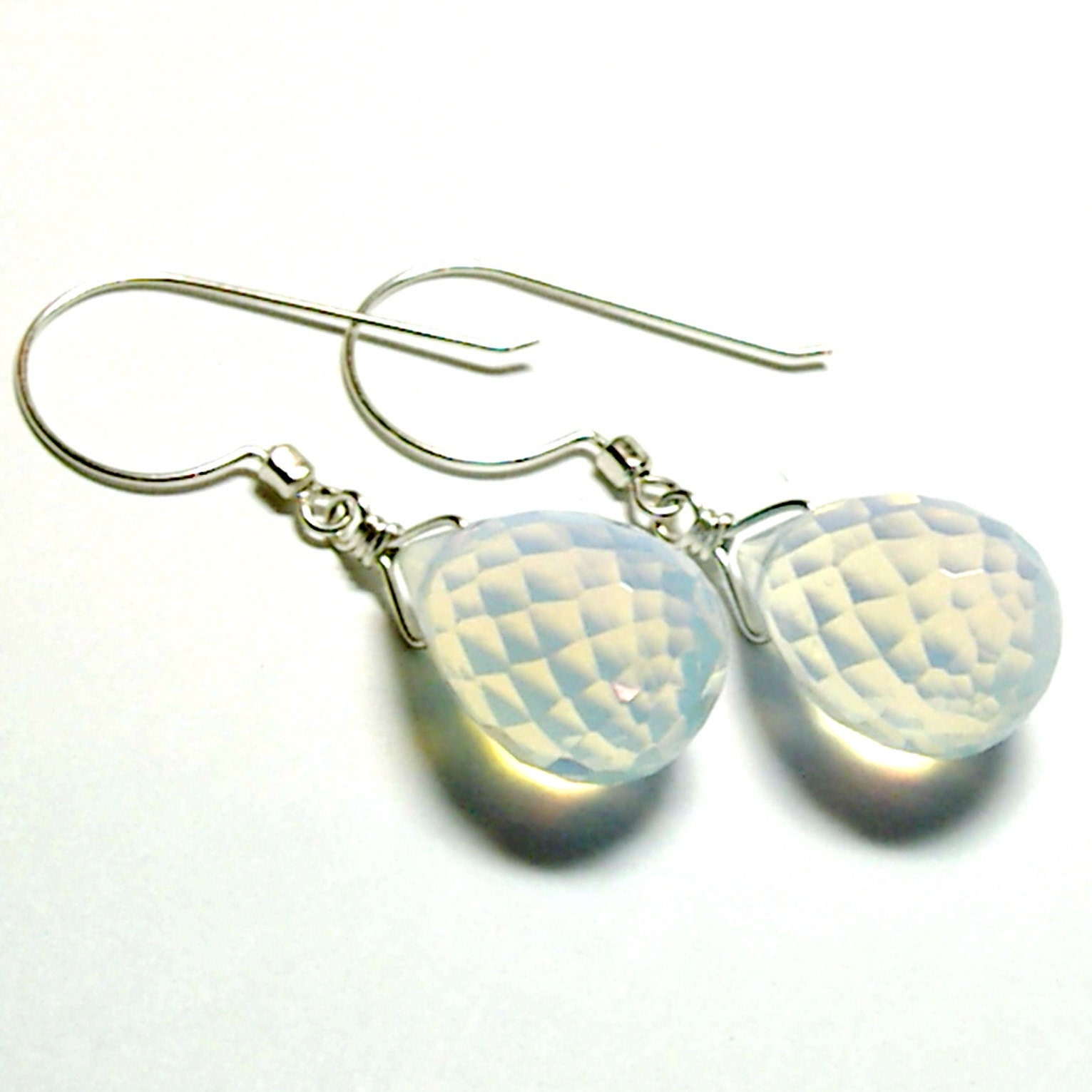 Opalite Faceted Teardrop Earrings by tilleyjewelsbride on Etsy from etsy.com