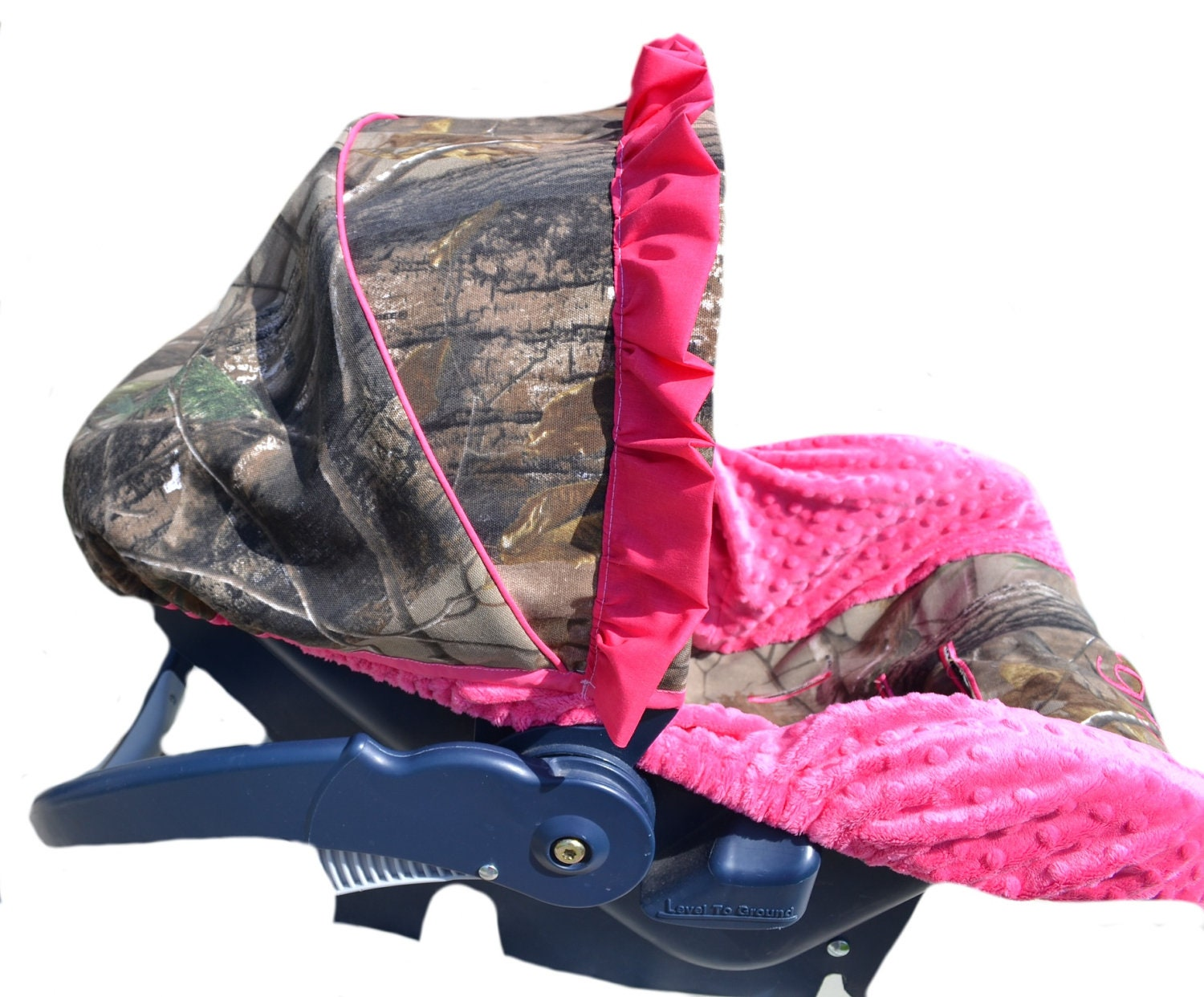 Custom Hunting Camo And Pink Infant Car Seat By