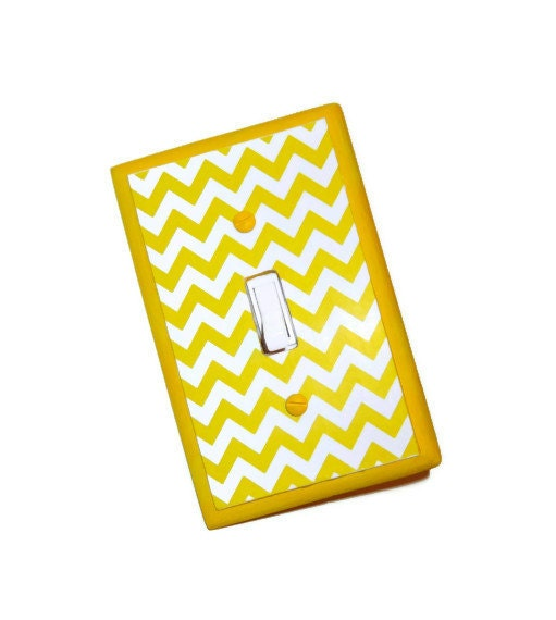 Bright Yellow Chevron Switch Plate - Geometric Wood Light Switch Cover