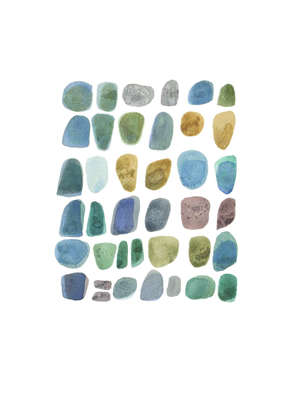 """Rocks pebbles ocean blue Abstract painting Watercolor painting  original abstract painting little painting 9 x 12"""" - LouiseArtStudio"""