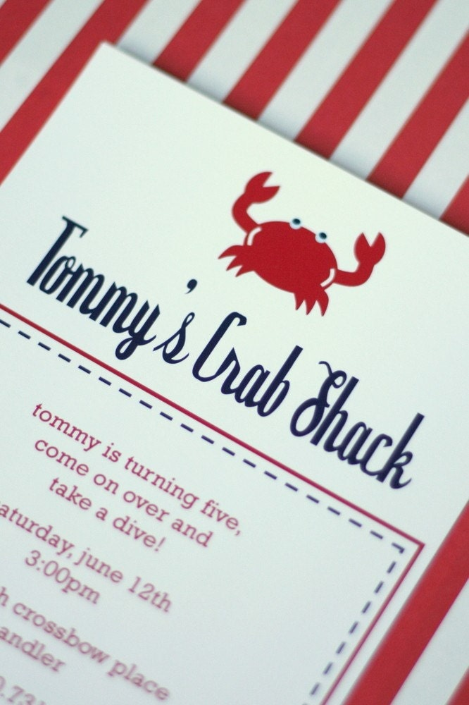 PRINTABLE INVITATION DESIGN - Nautical Crab Birthday Party Collection - DIY by The TomKat Studio