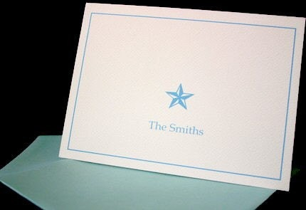 Star Folded Notecards/stationery-Set of 6 with envelopes