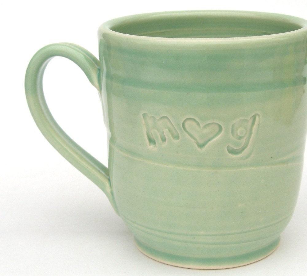 Custom love mug... in spring green.