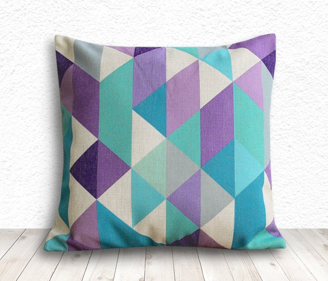 Geometric Pillow Cover, Pillow Cover, Pillow Cover Geometric, Linen Pillow Cover, 18x18 - Printed Geometric - 104 - 5CHomeDecor