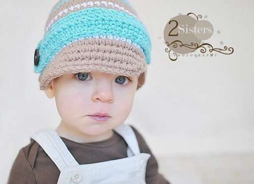 Newsboy Hat - Tan and Aqua
