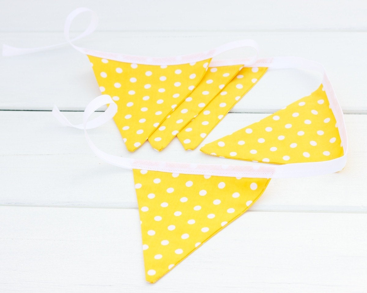 Yellow Polka Dot Handmade Good Will Bunting in Small