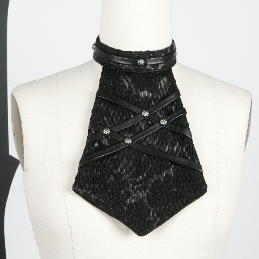 Black Unisex Rockin Jabot with Leather Straps and Silver Rivets