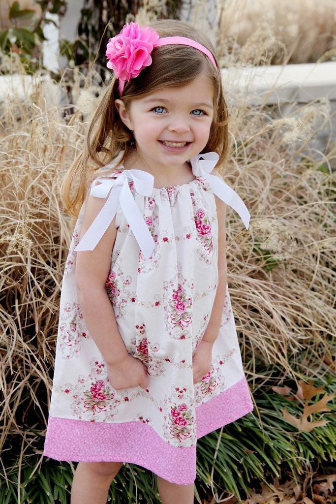 Spring 2011 Parisian Rose Pillowcase Dress 3 mo 6 mo 9 mo 12 mo 18 mo 2T 3T 4T 5T Newborn, Infant, Toddler, Girl Outfit for Easter Portraits Birthdays