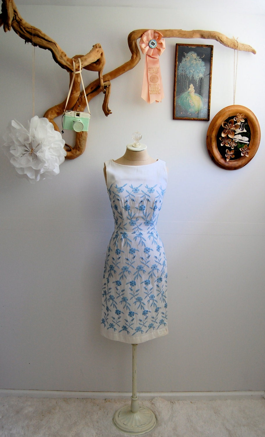 The Margaret- Vintage 1950s White & Blue Embroidered Wiggle Dress