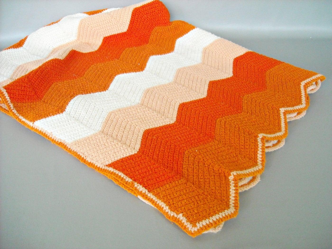 Vintage Crochet Blanket Wide Zig Zag