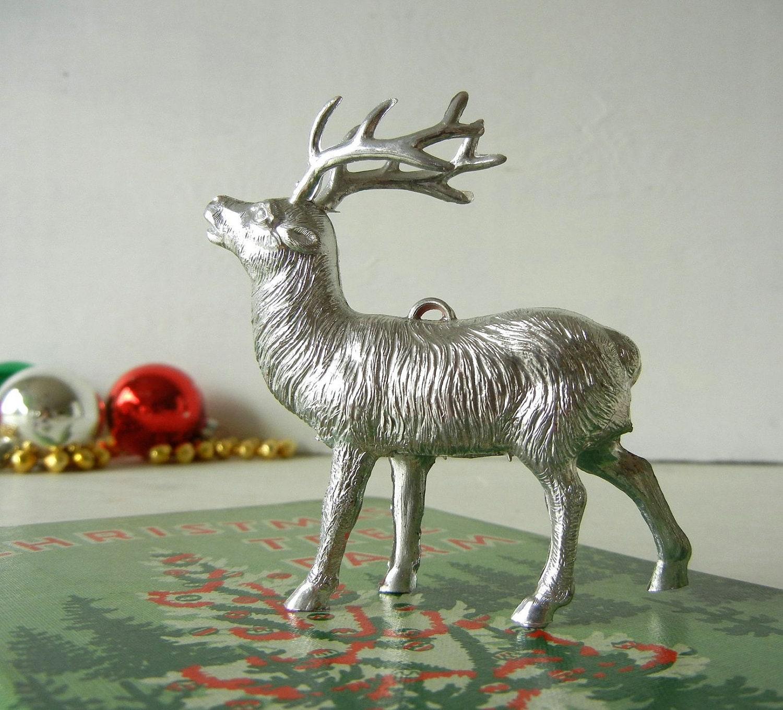 Vintage Christmas Ornament Silver Plastic Reindeer