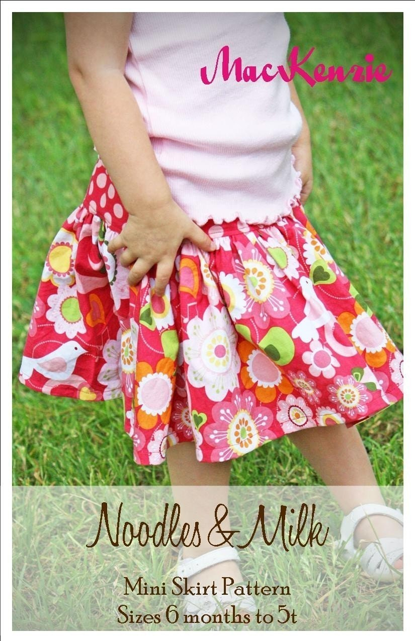 Noodles and Milk Sewing Pattern -Tutorial PDF DIY-Mackenzie Mini Skirt-Sizes 6mo to 5t
