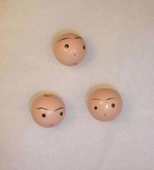wooden doll heads 20 mm vintage crafts by mrsmurphysmercantile