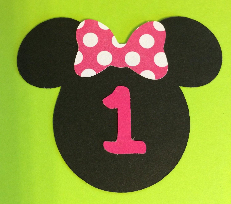 "30 2.5"" Minnie Mouse Head Silhouettes Die Cut Black Cutouts with Bows ..."