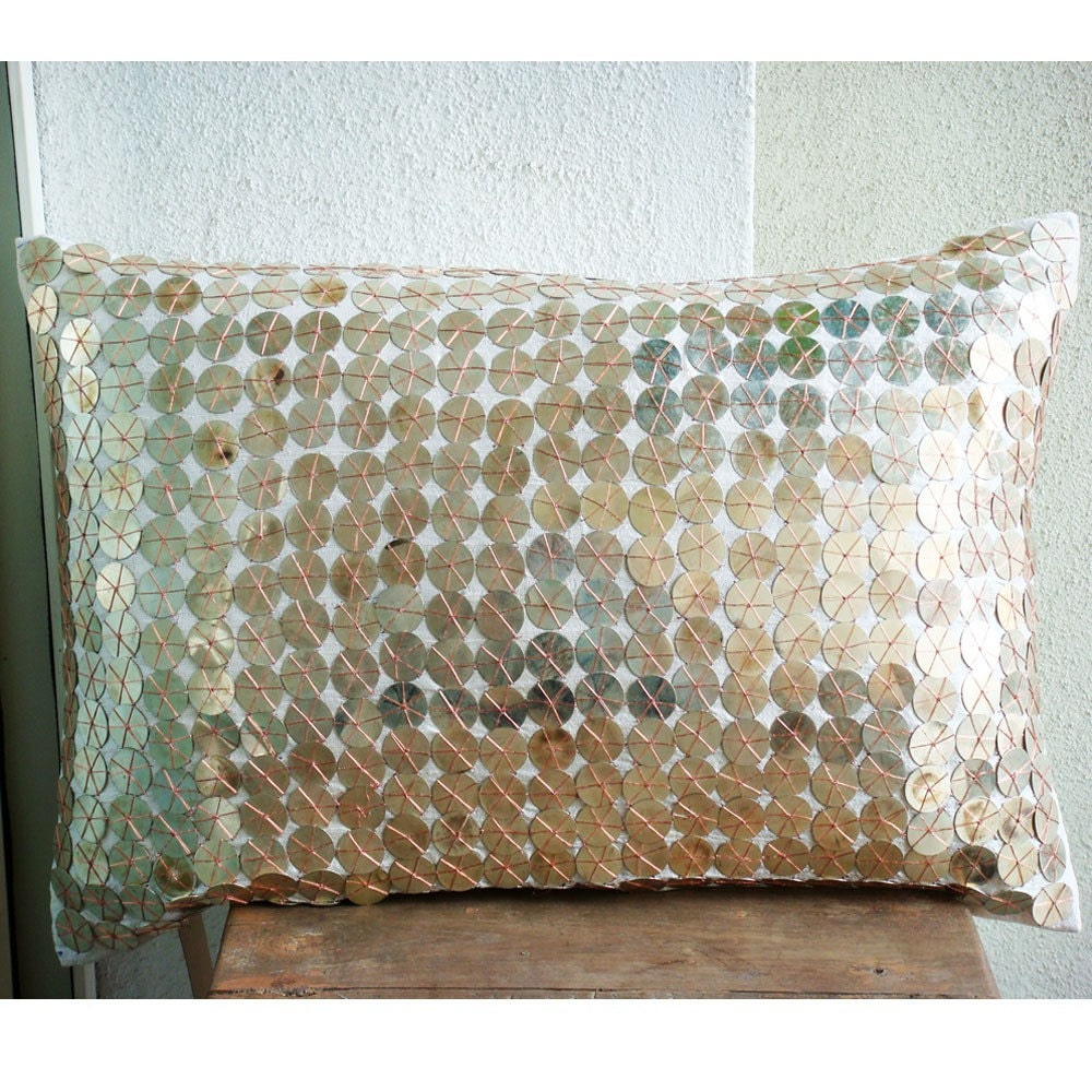 The HomeCentric Sparkling Antique Silver  - 12x16 in Rectangle/Lumbar Decorative Silver Silk Pillow Covers with Antique Silver Coin Emellishment at Sears.com