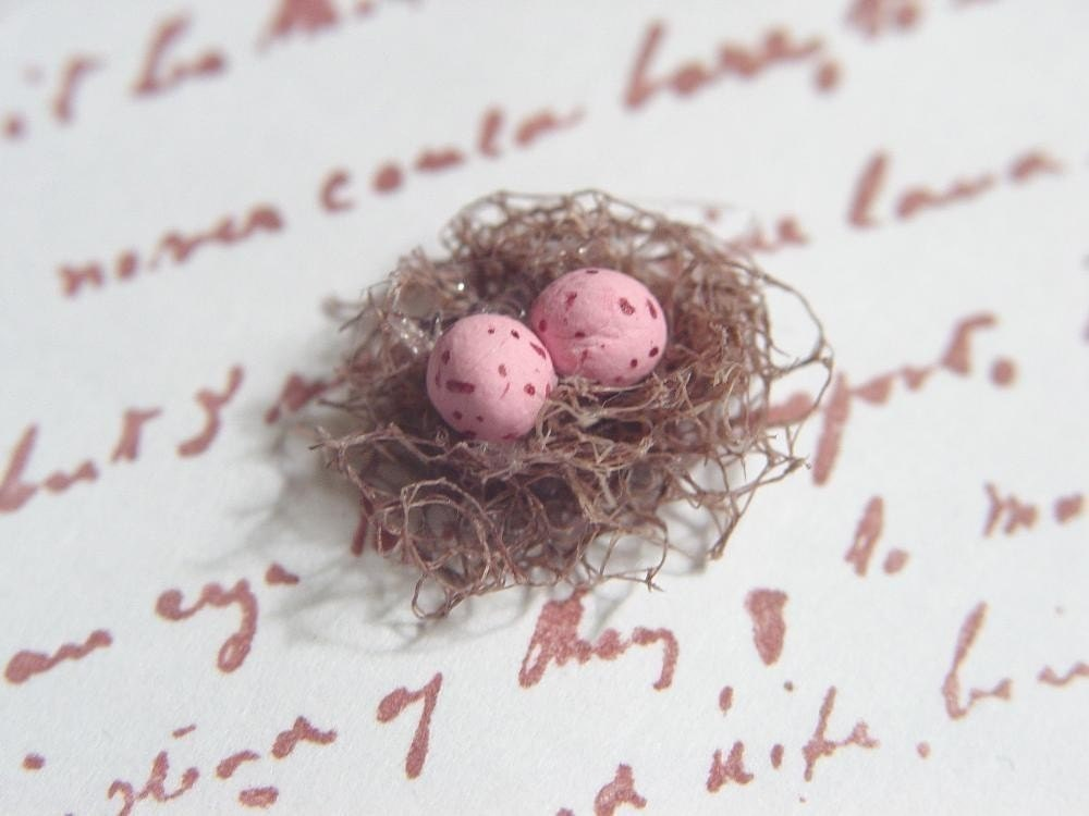 Bird Nest Tags Set of 10 with pink eggs
