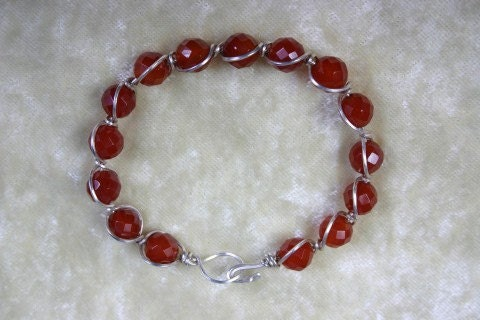 Bracelet Wire wrapped Red Carnelian in Sterling Silver
