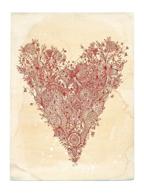 Love art print in red 8x10