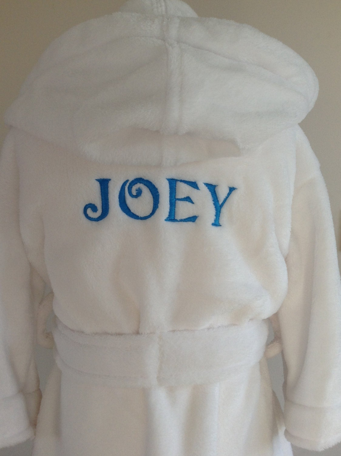 Personalised Dressing Gown name only for 06 mths to 910 years White Blue or Pink robes Babies to kids sizes