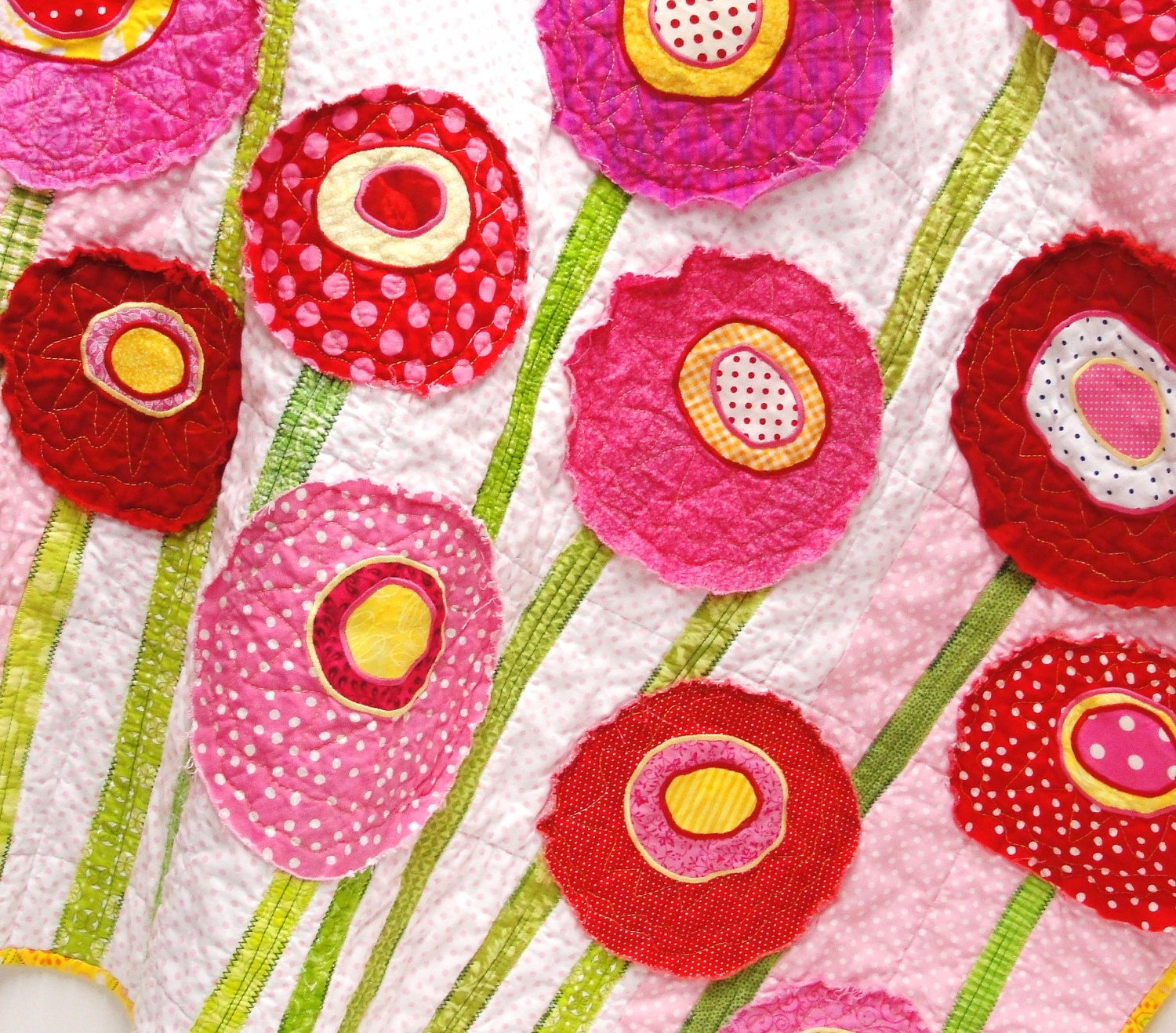 "Poppy baby quilt - wall art quilt- ""Poppy Garden"" in pink, red, yellow, green & white"
