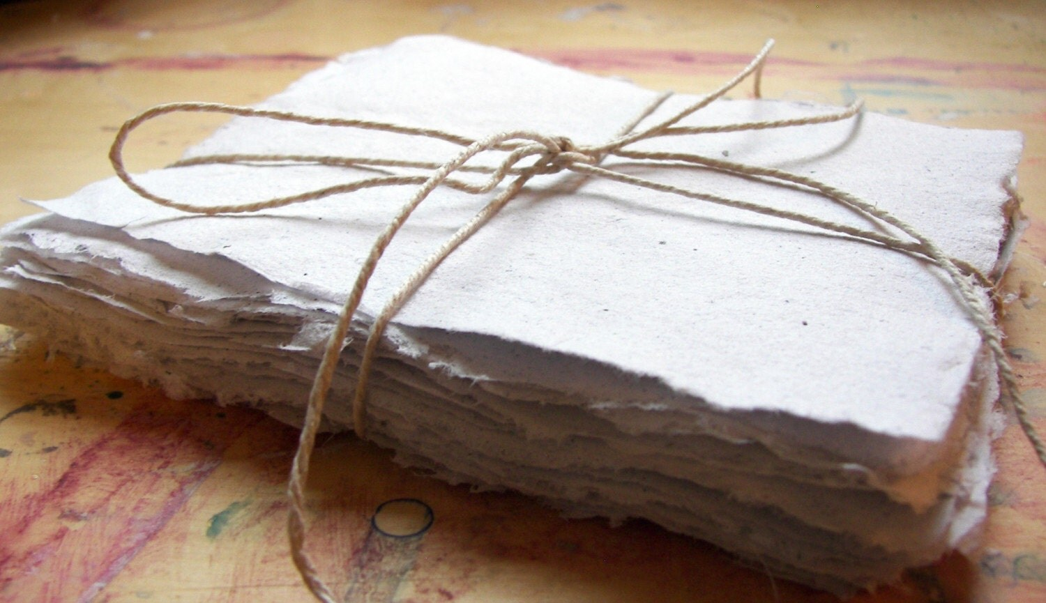 Recycled handmade paper --- 50 sheets of white 4x5 inch