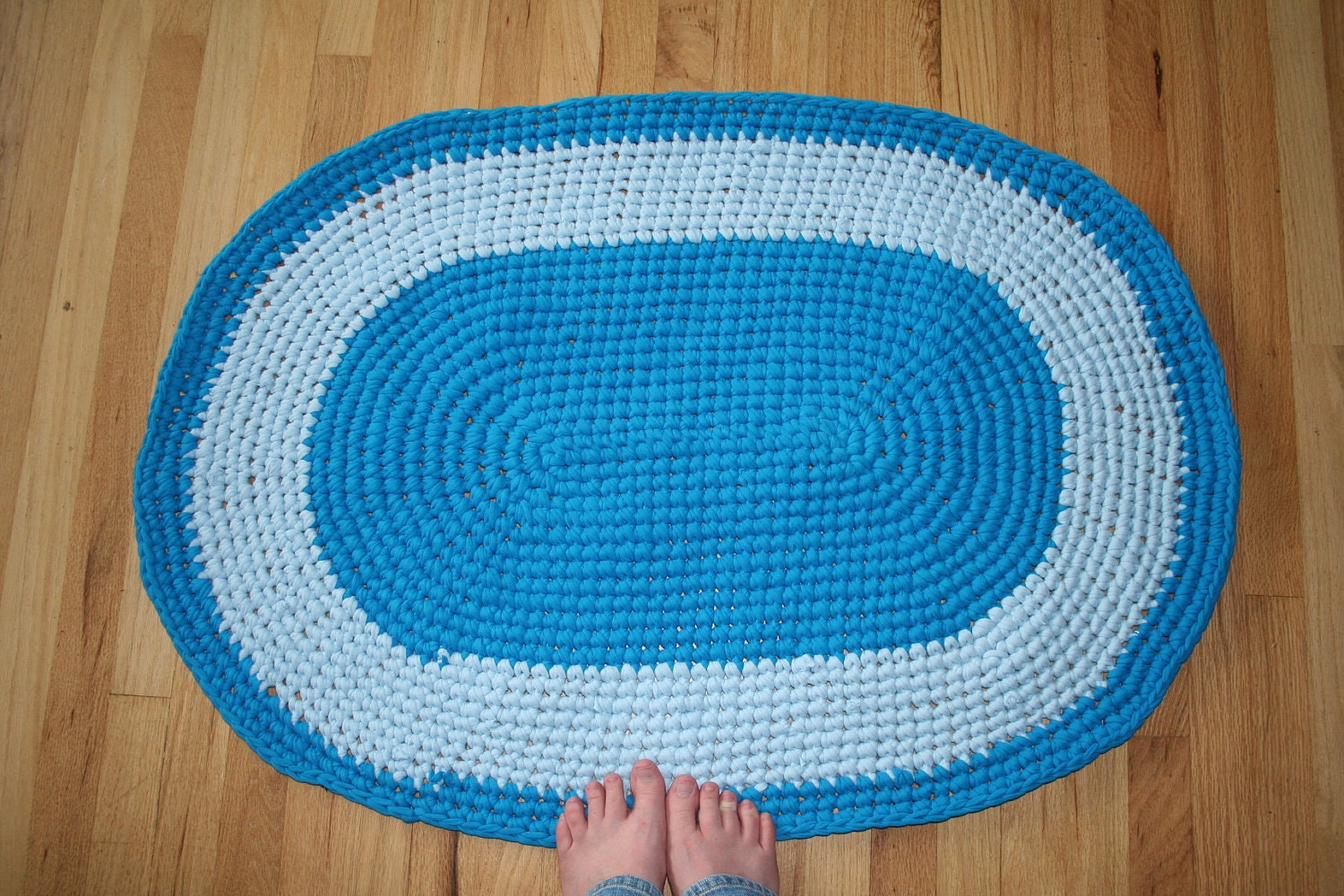 Reciclado Crochet bebê Electric Blue Rug